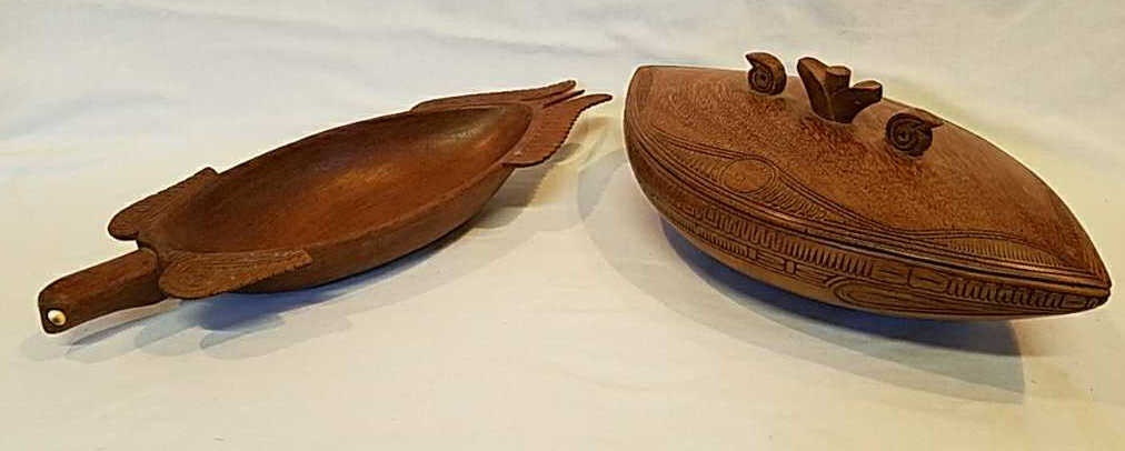New Guinea Wood carved bowl with lid and Sea Turtle tray.